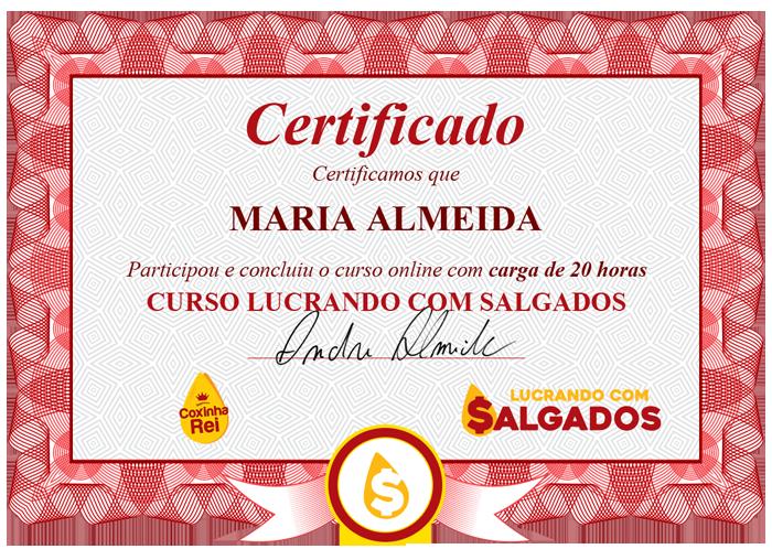 Certificado Lucrando com Salgados